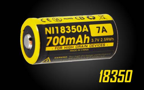 NITECORE IMR 18350 Battery 700mAh 3.7V - Rechargeable for EC11]