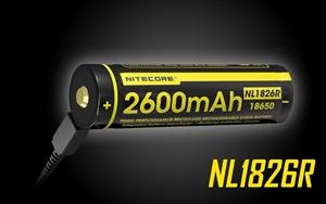 Nitecore NL1826R 2600mAh USB Rechargeable 18650 Battery