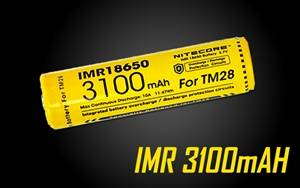 Nitecore IMR 3100 mAH Rechargeable 18650 Battery for TM28, EC23, Concept 1 Flashlights