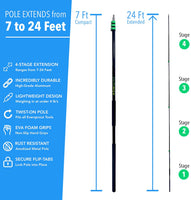 EVERSPROUT 7'-24' Aluminum Telescopic Extension Pole