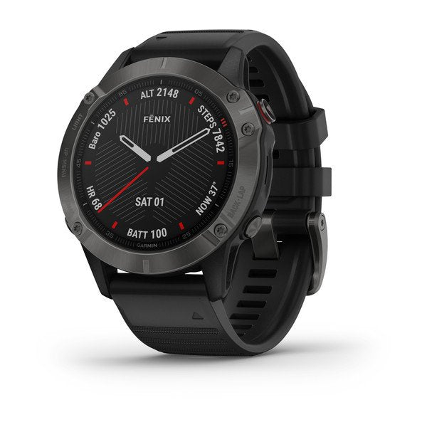 Garmin fēnix® 6 - Sapphire Carbon Gray DLC w/Black Band GPS Watch