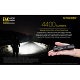 NITECORE E4K 4400 Lumens EDC Flashlight with 5000mAh USB-C Battery