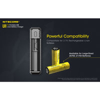 NITECORE UI1 Single-Slot Intelligent USB Lithium-ion Battery Charger for 18650, 18350, 20700, 21700 etc