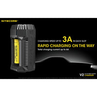 NITECORE V2 6A 2-Channel In-Car Speedy Battery Charger with 12V Lighter Adapter and USB Ports for 18650 RCR123A 17650 17670 14500 AA C and More