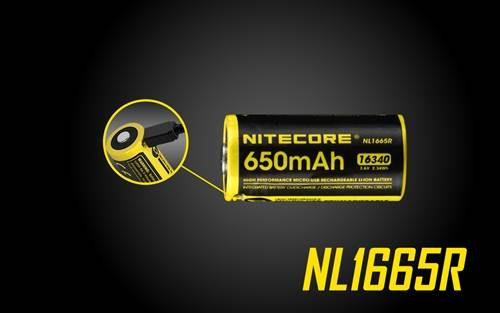 Nitecore NL1665R 650mAh Rechargeable RCR123A 16340 Battery