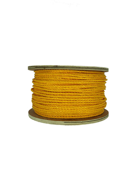 "1/4"" X 600' Yellow 3-Strand Twisted Polypropylene Rope"