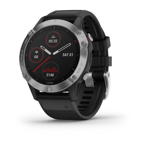 Garmin fēnix® 6, Silver with Black Band GPS Watch