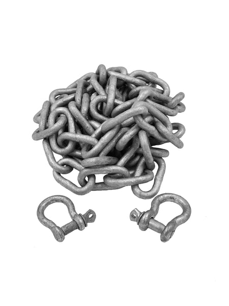 "1/4"" x 6' Grade 30 Galvanized Anchor Chain & 2 Shackles"