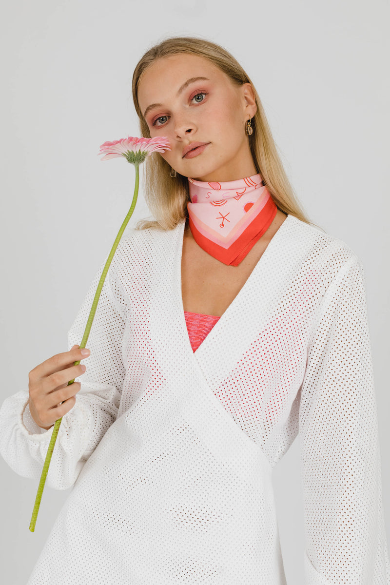 THE ISLAND MINI SILK SCARF - WHITE