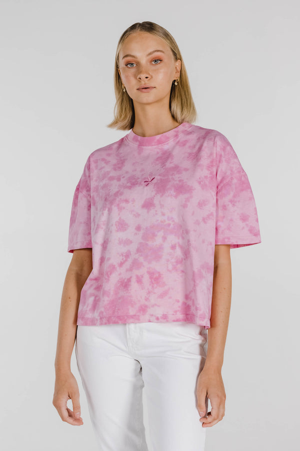 FLOWER POWER ORGANIC COTTON TIE DYE BOXY TEE - VINTAGE PINK