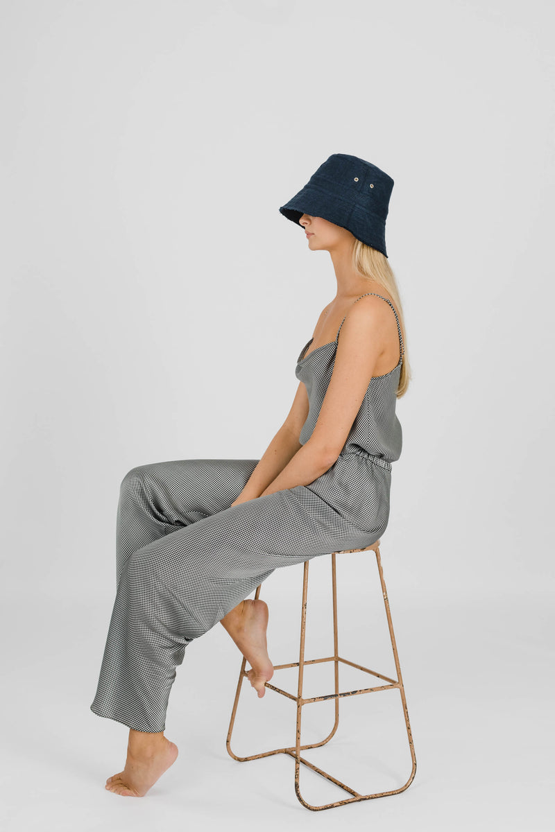 FLOWER POWER LINEN BUCKET HAT - FRENCH NAVY