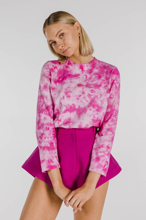 FLOWER POWER ORGANIC COTTON TIE DYE LONG SLEEVE TEE - HOT PINK