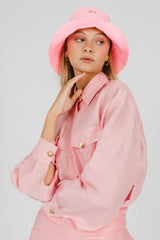 FLOWER POWER LINEN BUCKET HAT - PINK