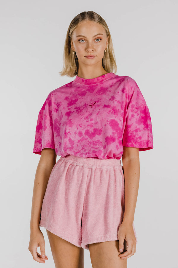 FLOWER POWER ORGANIC COTTON TIE DYE BOXY TEE - HOT PINK