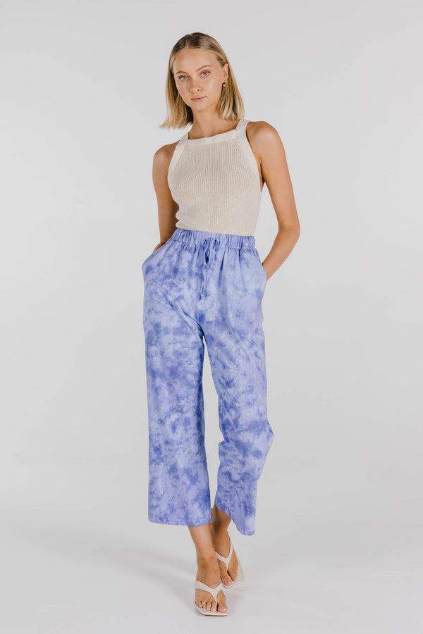 FLOWER POWER TIE DYE ORGANIC COTTON PANT - PERIWINKLE