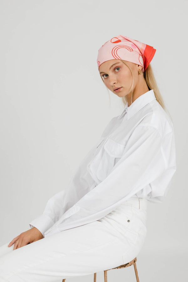 THE ISLAND COTTON SILK BANDANA - PINK