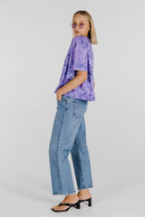 FLOWER POWER ORGANIC COTTON TIE DYE BOXY TEE - MAUVE
