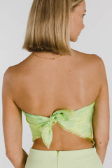 FLOWER POWER TIE DYE SILK SCARF - LIME