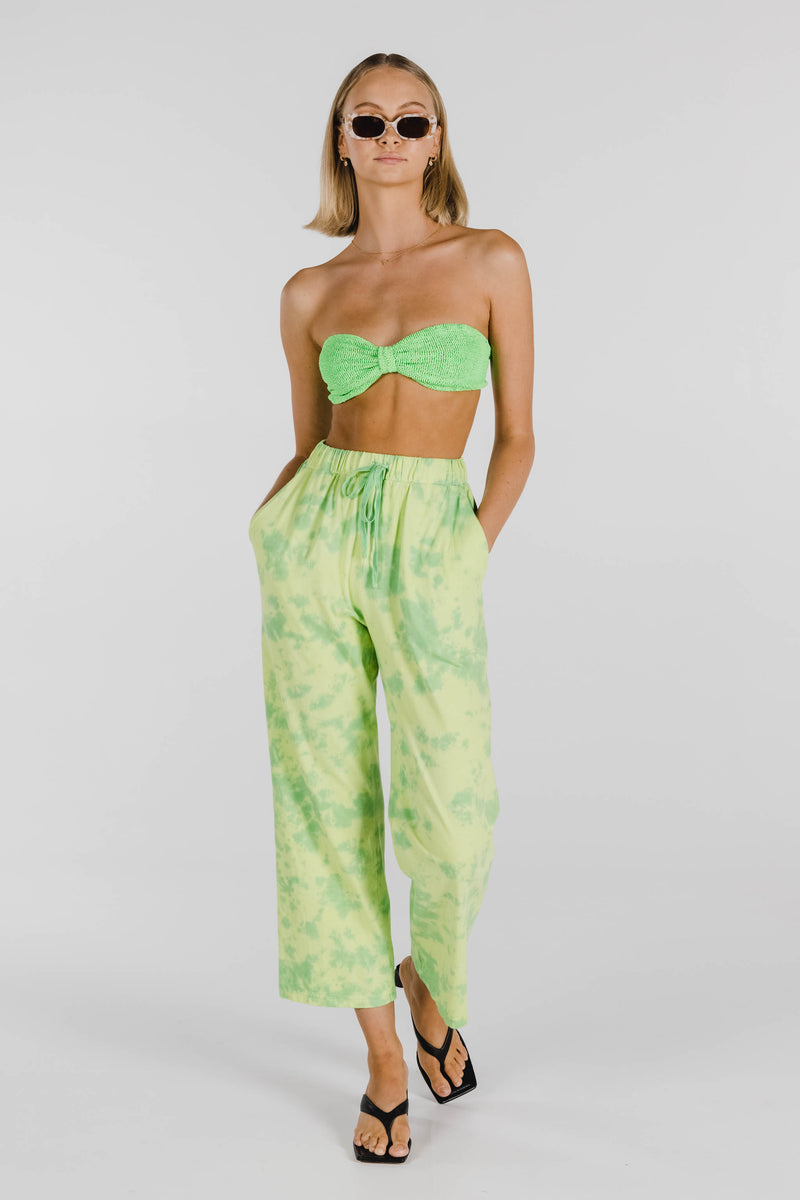 FLOWER POWER ORGANIC COTTON TIE DYE PANT - LIME