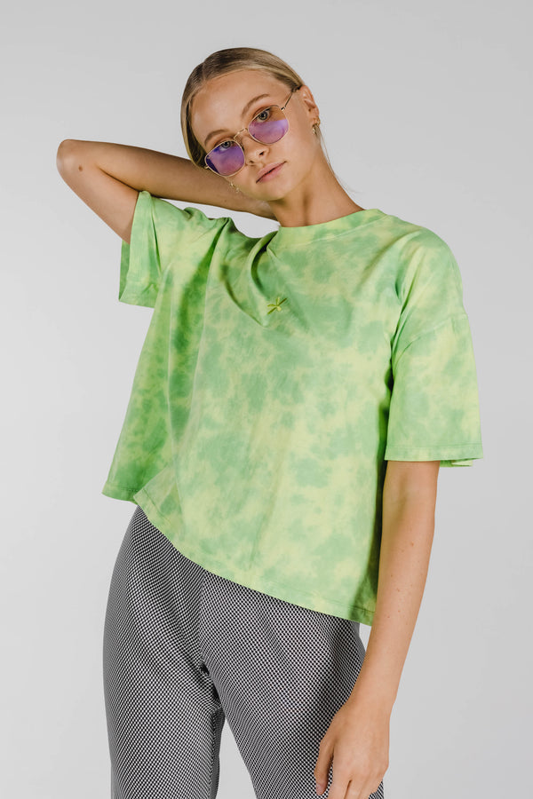 FLOWER POWER ORGANIC COTTON TIE DYE BOXY TEE - LIME