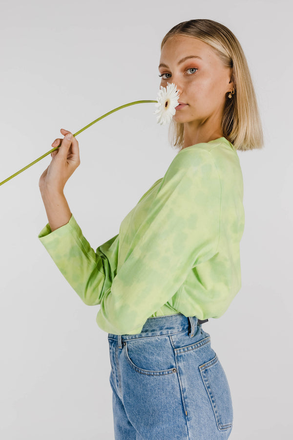 FLOWER POWER ORGANIC COTTON TIE DYE LONG SLEEVE TEE - NEON APPLE