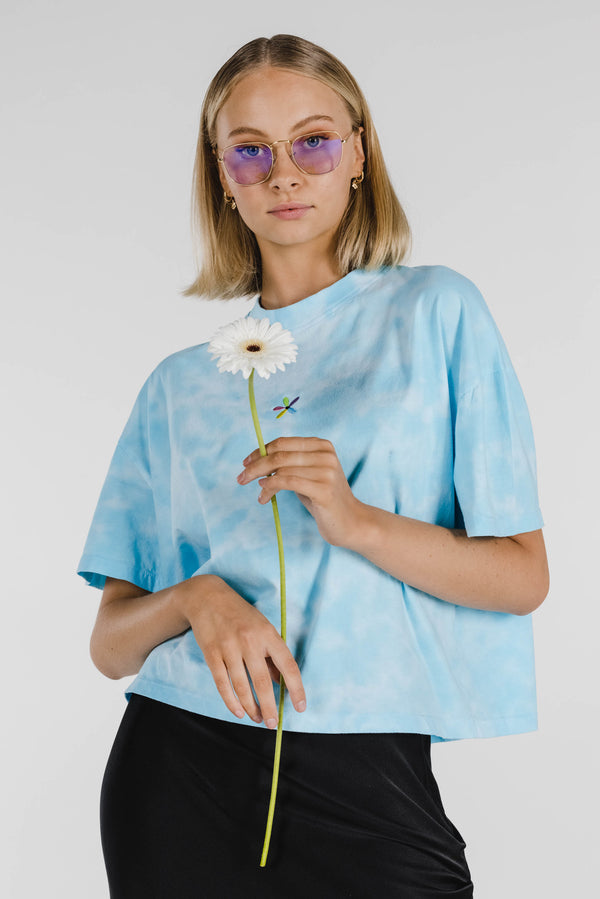 FLOWER POWER ORGANIC COTTON TIE DYE BOXY TEE - CLOUD