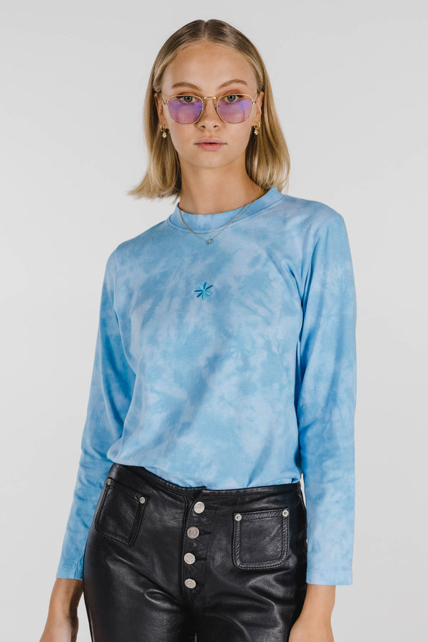 FLOWER POWER ORGANIC COTTON TIE DYE LONG SLEEVE TEE - OCEAN BLUE