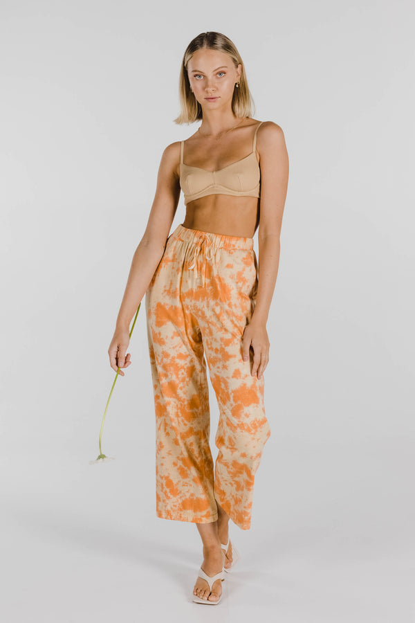 FLOWER POWER ORGANIC COTTON TIE DYE PANT - APRICOT