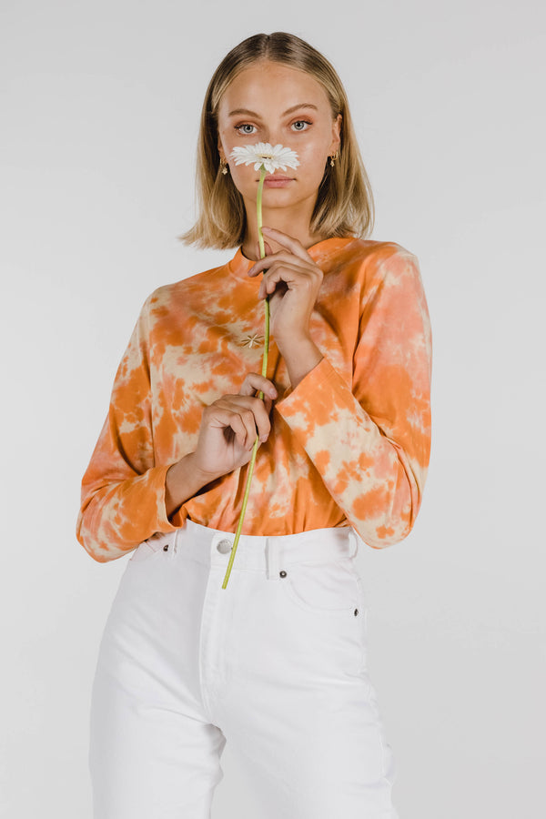 FLOWER POWER ORGANIC COTTON TIE DYE LONG SLEEVE - APRICOT ORANGE
