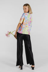 FLOWER POWER ORGANIC COTTON TIE DYE BOXY TEE - RAINBOW