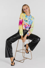 FLOWER POWER ORGANIC COTTON TIE DYE LONG SLEEVE TEE - RAINBOW