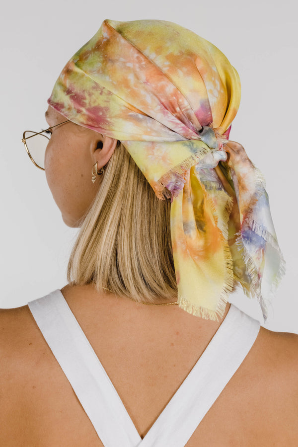 FLOWER POWER TIE DYE SILK SCARF - RAINBOW