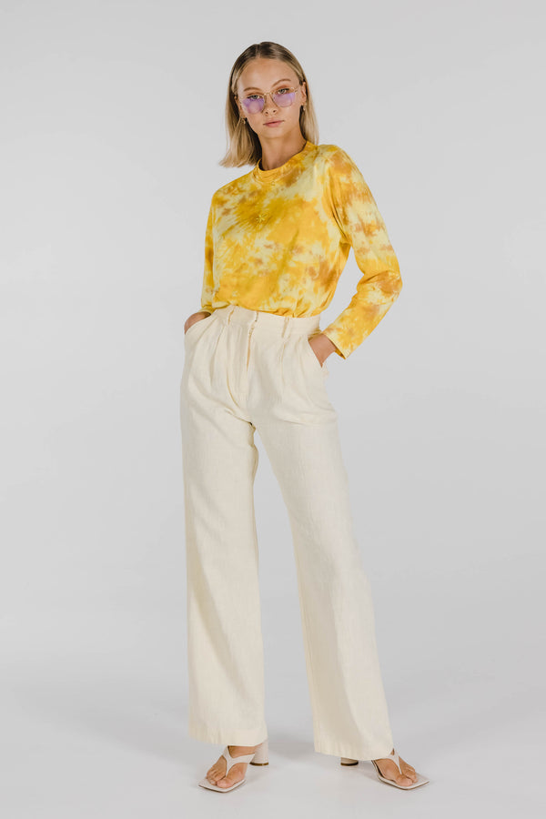 FLOWER POWER ORGANIC COTTON TIE DYE LONG SLEEVE - SUNSHINE