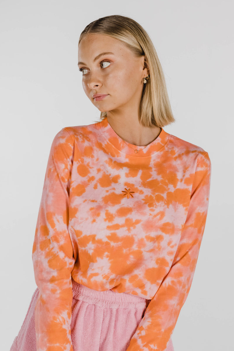 FLOWER POWER ORGANIC COTTON TIE DYE LONG SLEEVE - CORAL