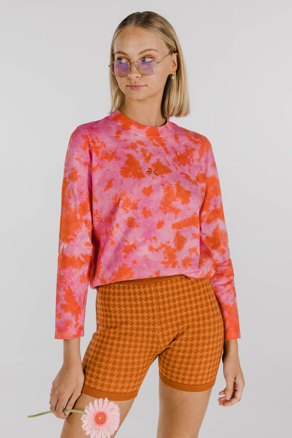 FLOWER POWER ORGANIC COTTON TIE DYE LONG SLEEVE - WATERMELON