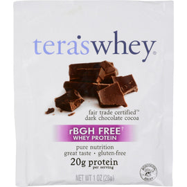 Teras Whey Protein Powder - Whey - Fair Trade Certified Dark Chocolate Cocoa - 1 oz - Case of 12