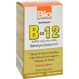 Bio Nutrition - B12 Sublingual - 6000 mcg - 50 Tablets