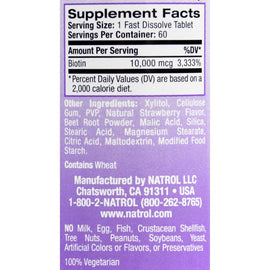 Natrol Biotin - Fast Dissolve - Strawberry - 10,000 mcg - 60 Tablets