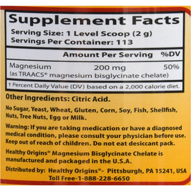 Healthy Origins Magnesium Bisglycinate Chelate - Fully Reacted - 8 oz