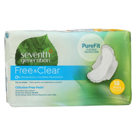 Seventh Generation - Free and Clear Pads - Regular - Case of 6 - 18 Count