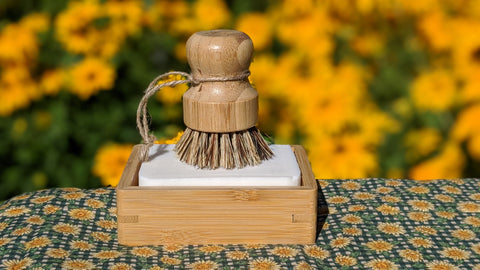 moso bamboo soap dish, dish washing block, and palm pot scrubber