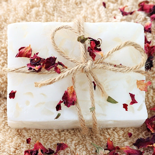 White Bar Soap With Rose Petals