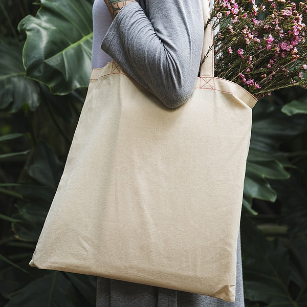 Woman Holding Cotton Tote Bag