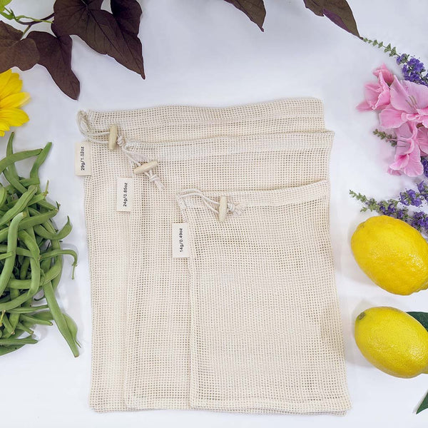 3-Pack Mesh Produce Bag Set - Organic Cotton - Zero Waste Outlet