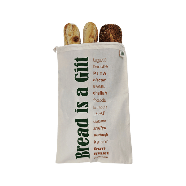 """Bread is a Gift"" Bread Bag - Organic Cotton - Zero Waste Outlet"