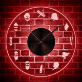 horloge murale LED barbe rouge