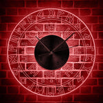 horloge murale LED viking rouge