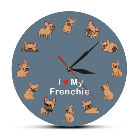 horloge murale design bouledogue