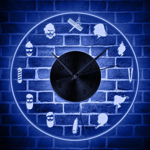 horloge murale LED barbe