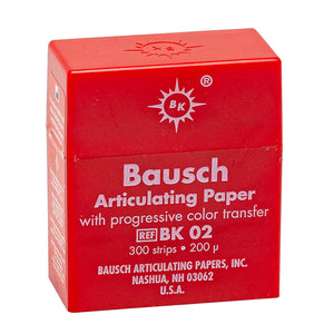 "Bausch Articulating Paper 200u(0.008"") Red w/dispenser BK-02 300pcs"